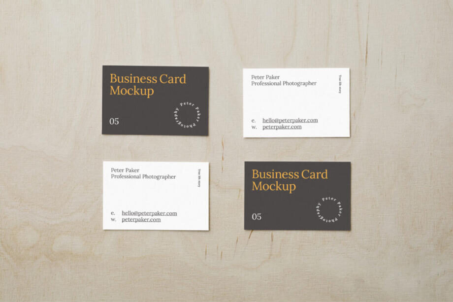 Free Scattered Business Card Mockup PSD Template