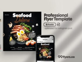 Free Seafood Online Ordering Food Flyer PSD Template