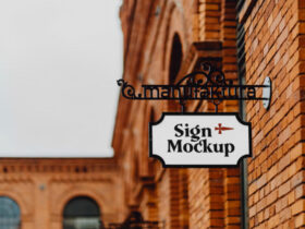 Free Sign Metal PSD Mockup Template