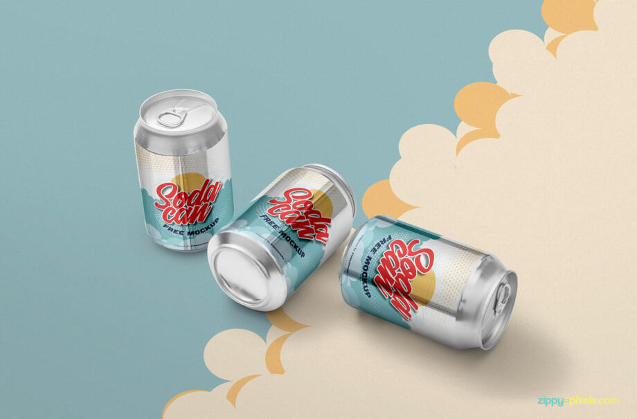 Free Soft Drink Can Mockup PSD Template