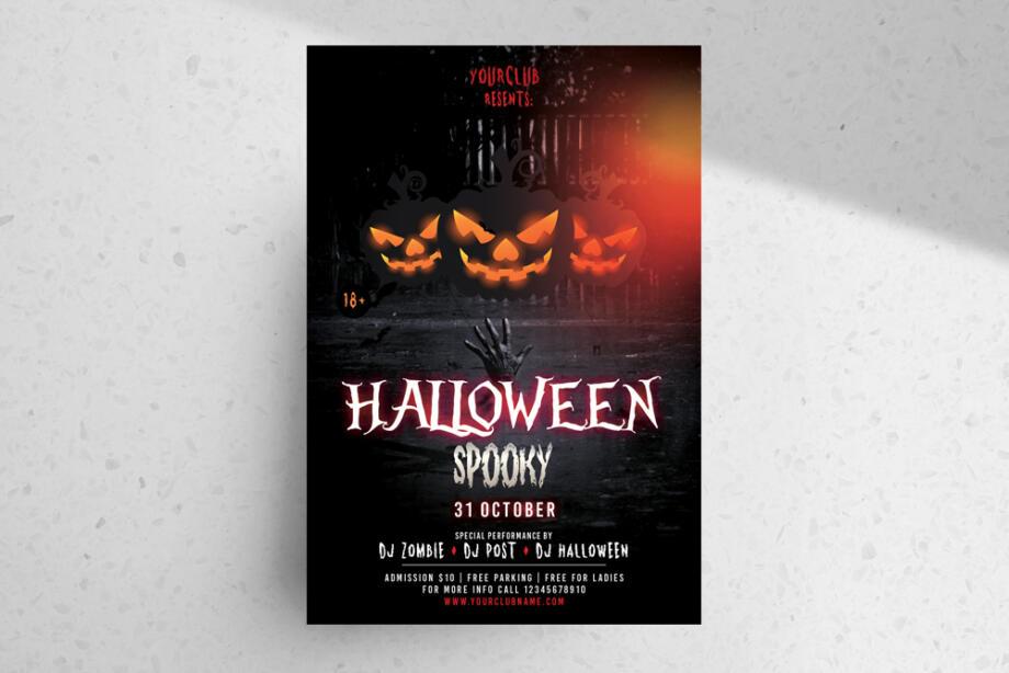 Free Spooky Halloween Flyer PSD Template
