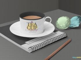Free Tea Cup Mockup Scene PSD Template