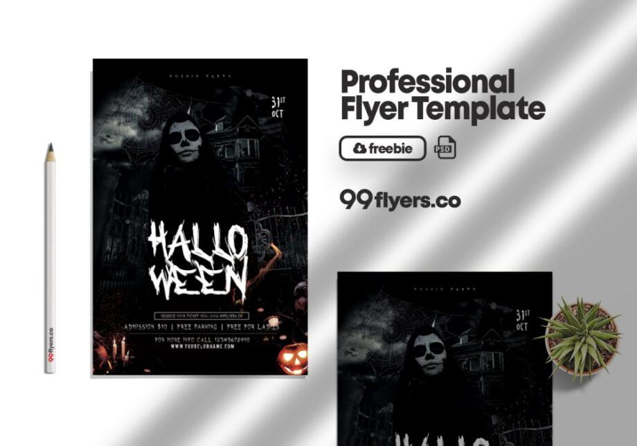 Free The Witching Hour Halloween Flyer PSD Template
