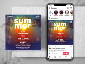 Free Tropical Party Instagram Banner PSD