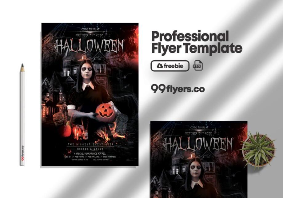 Free Vampire Weekend Halloween Party PSD Flyer Template