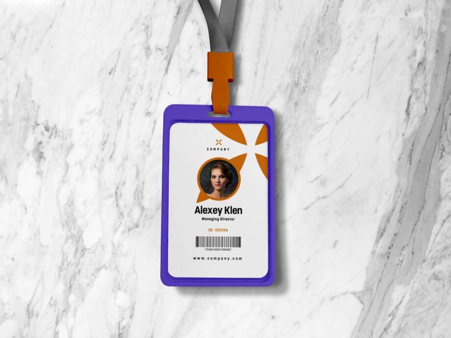 Free Vertical ID / Member Card Mockup PSD Template
