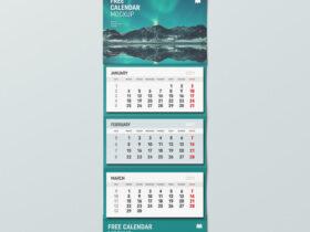 Free Wall Calendar Mockup PSD Template