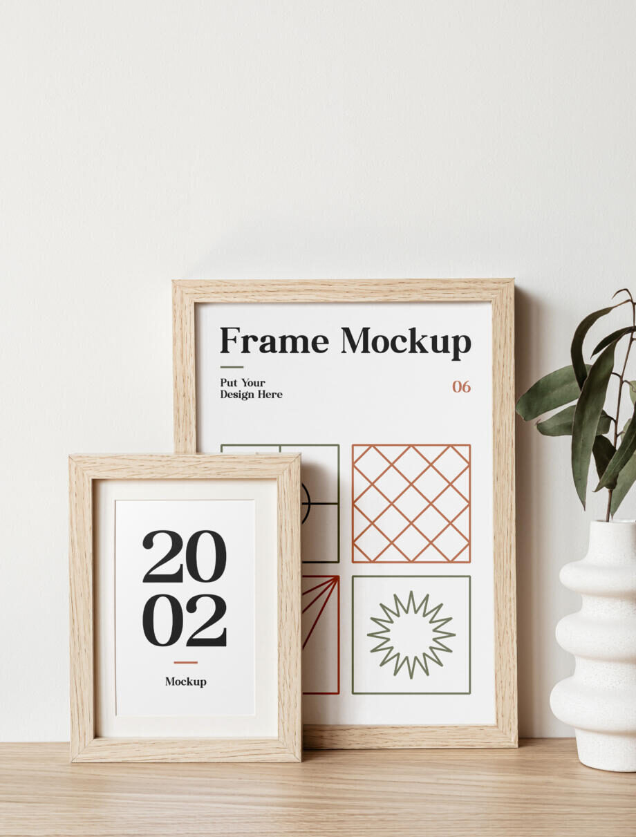 Free Wood Frames on Table Mockup PSD Template