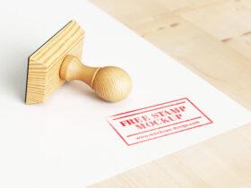 Free Wood Stamp Mockup PSD Template