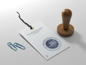 Free Wooden Stamp Mockup PSD Template