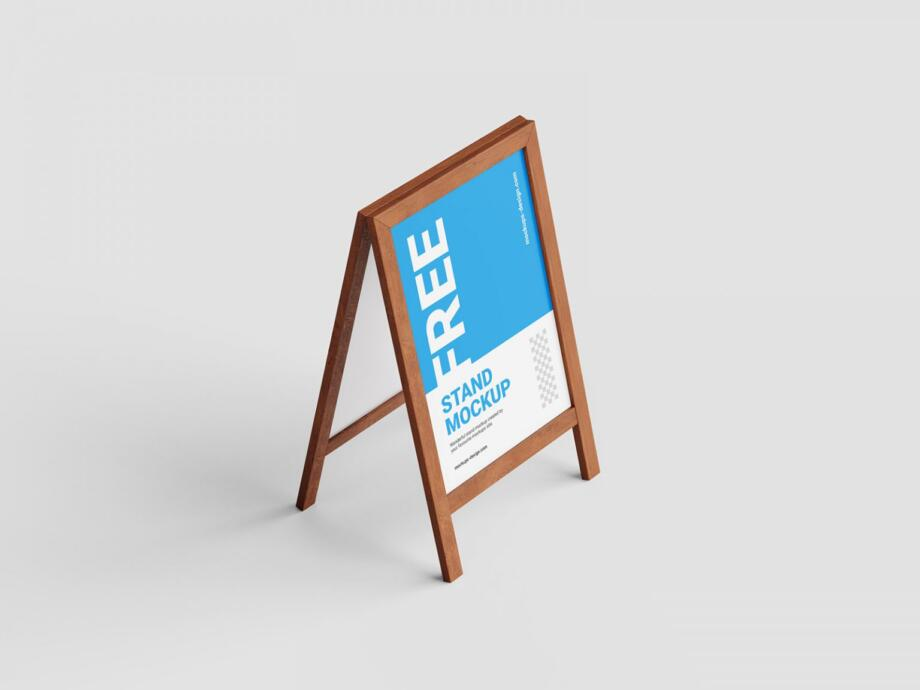 Free Wooden Stand Mockup PSD Template