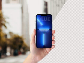Free iPhone 13 PRO In Hand Mockup PSD Template