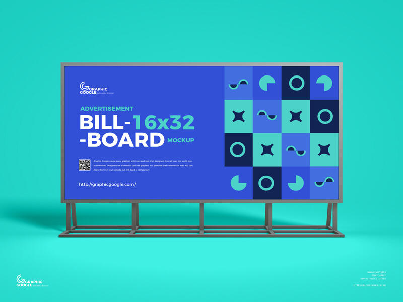 Free Advertisement 16×32 Billboard Mockup PSD