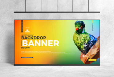 Free Advertisement Backdrop Banner Mockup PSD Template