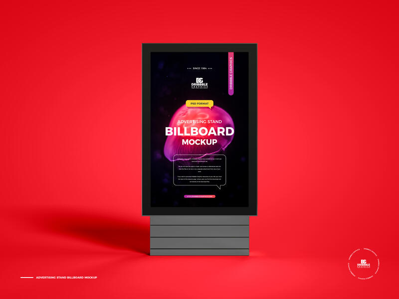 Free Advertising Stand Billboard Mockup PSD Template