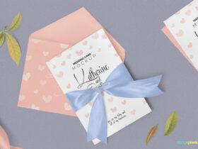 Free Aesthetic Wedding Invitation Mockup PSD Template