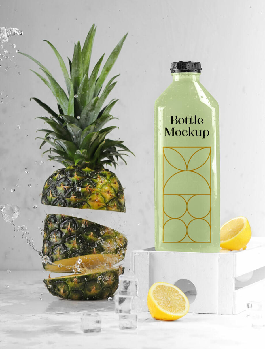 Free Bottle with Ananas Mockup PSD Template