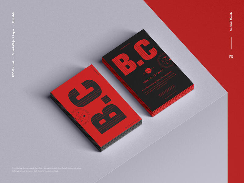 Free Branding Stack of Business Card Mockup PSD Template