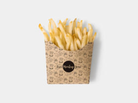Free Brown Paper French Fries Box Mockup PSD Template