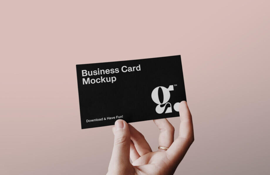 Free Business Card with Hand Mockup PSD Template