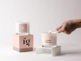 Free Candles with Box Mockup PSD Template