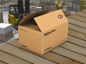 Free Cardboard Packaging Delivery Box Mockup