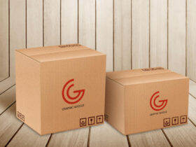Free Carton Delivery Packaging Box Logo Mockup