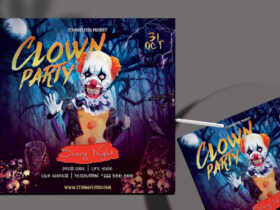Free Clown Party Flyer PSD Template