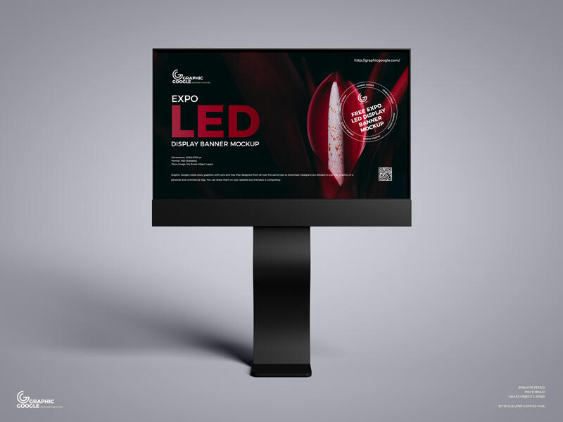 Free Expo LED Display Banner Mockup PSD Template