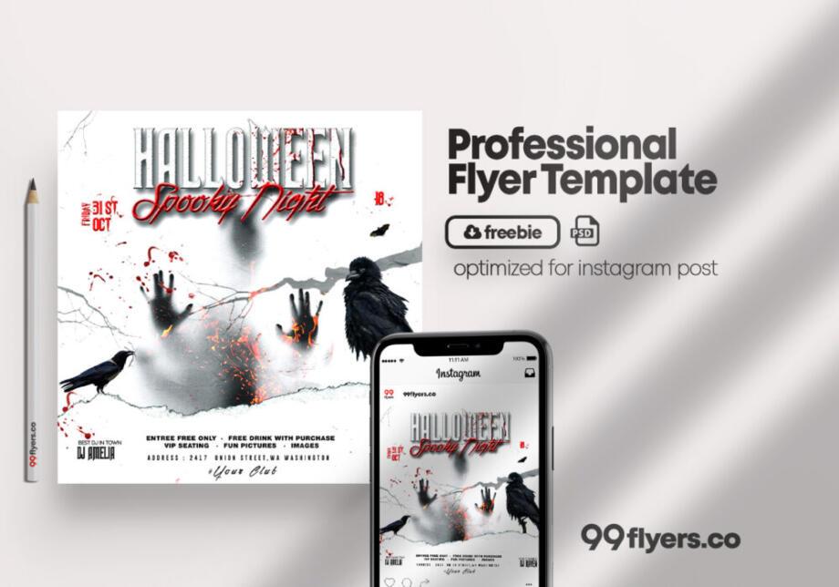 Free Fright Halloween Night PSD Flyer Template