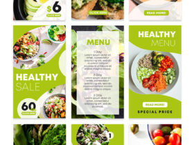 Free Healthy Food Instagram Stories Set PSD Template