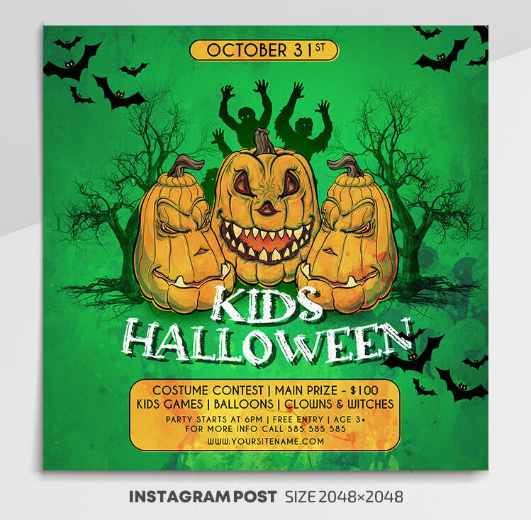 Free Kids Halloween Instagram Banner PSD Template