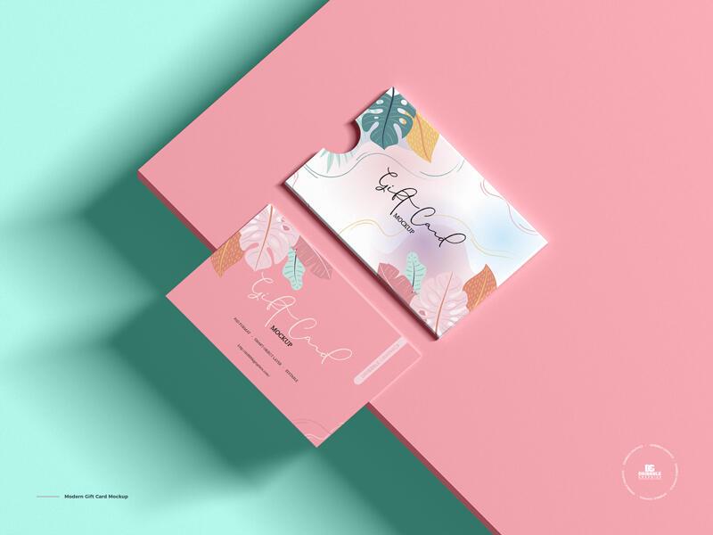 Free Modern Gift Card Mockup PSD Template