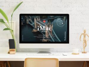 Free Modern Workstation iMac Mockup PSD