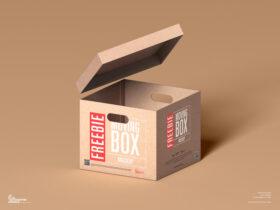Free Moving Box Mockup PSD Template