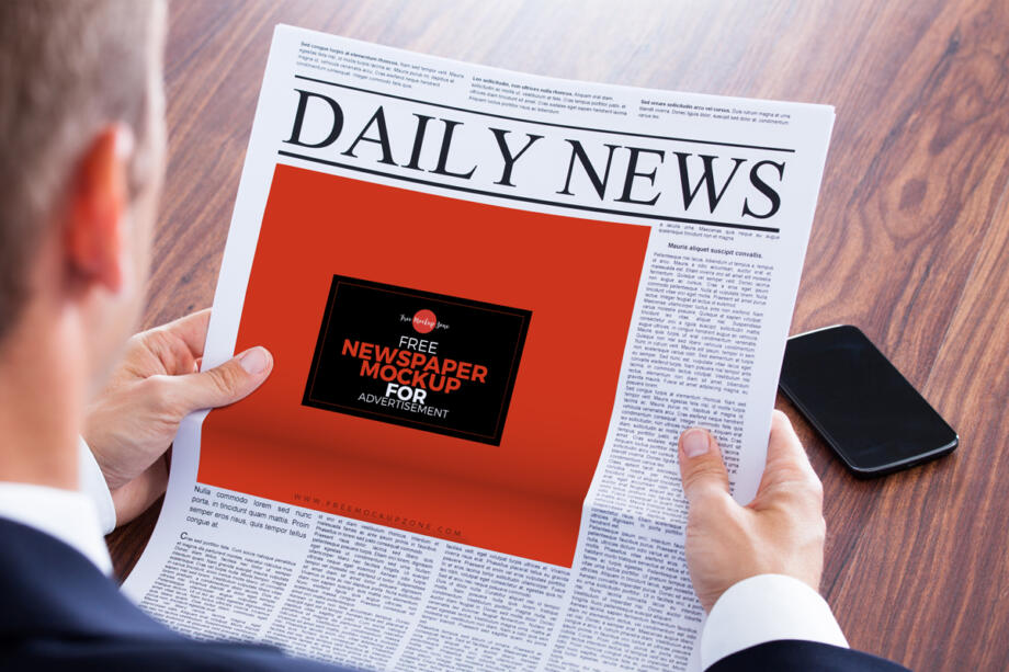 Free Newspaper Mockup AD PSD Template