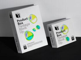 Free Packaging Box Set Mockup Scene PSD Template