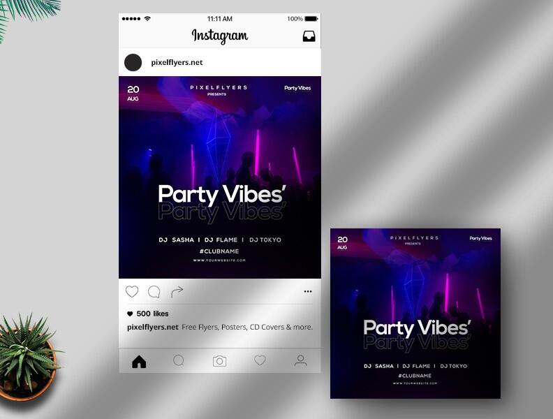 Free Party Vibes Instagram Post PSD Template