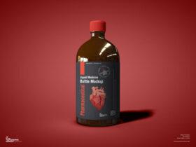 Free Pharmaceutical Liquid Medicine Bottle Mockup PSD