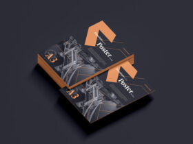 Free Premium A3 Stack of Poster Mockup PSD Template