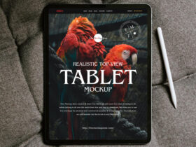 Free Realistic Top View Tablet Mockup PSD Template
