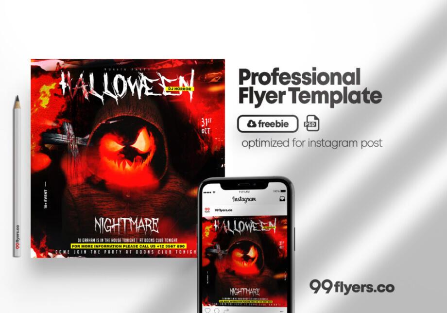 Free Spooky Halloween Night PSD Flyer Template