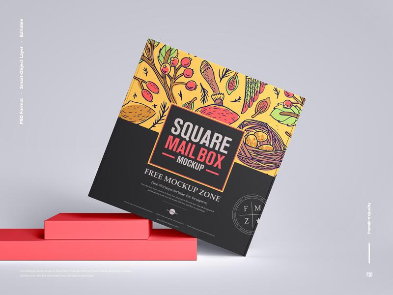 Free Square Mail Box Mockup PSD Template