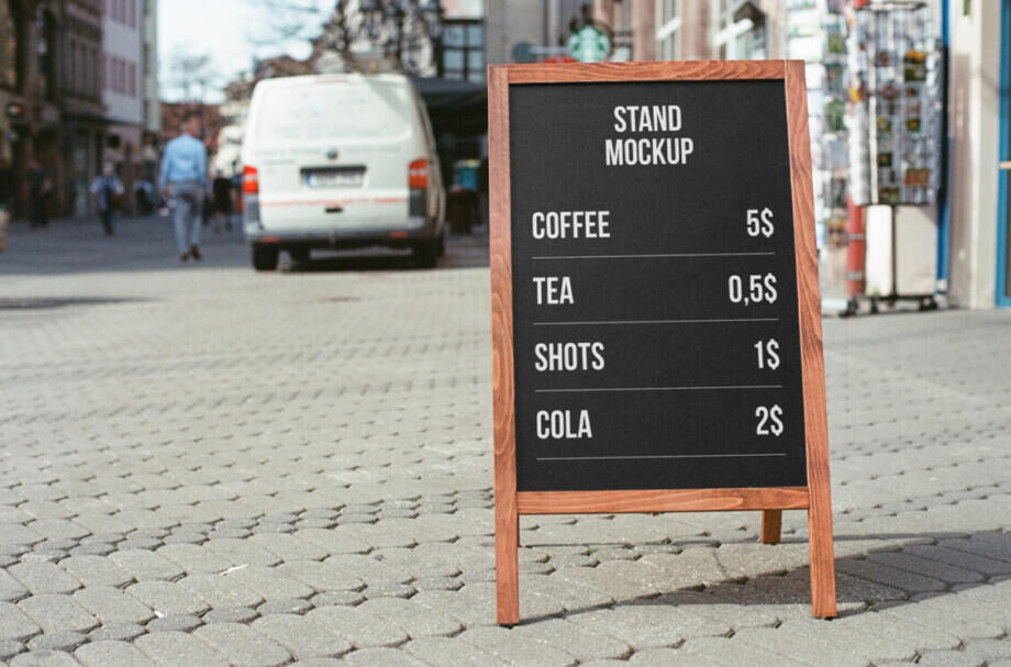Free Stand on Street Mockup PSD Template