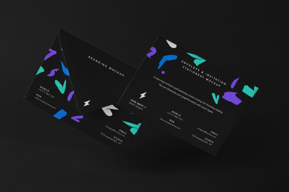 Free Stationery Envelope Mockup Set PSD Template
