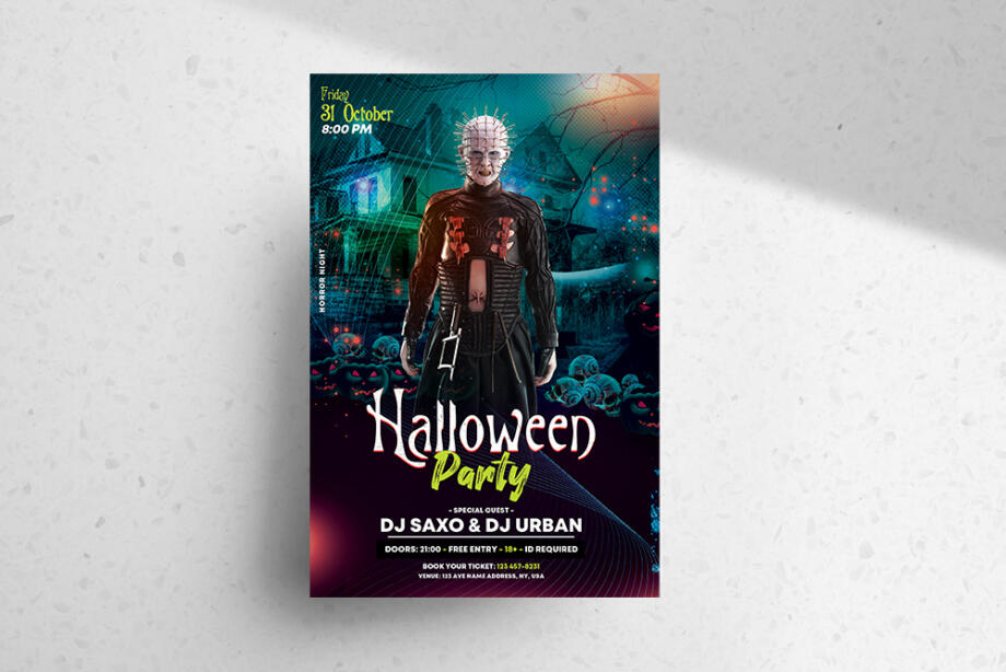 Free The Halloween Party Flyer Template PSD