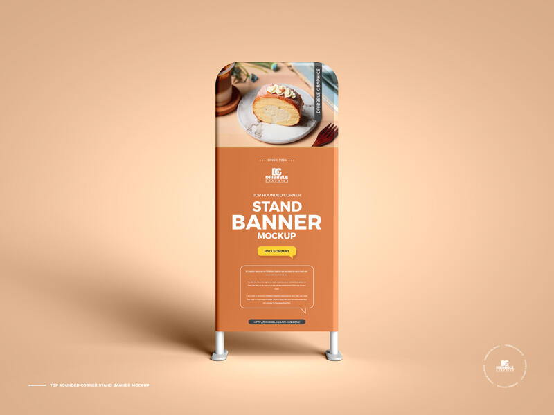 Free Top Rounded Corner Stand Banner Mockup PSD Template