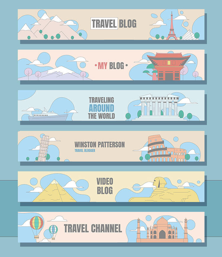 Free Travel Channel Youtube Banners Set Template