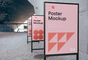 Free Triple Poster Mockup PSD Template