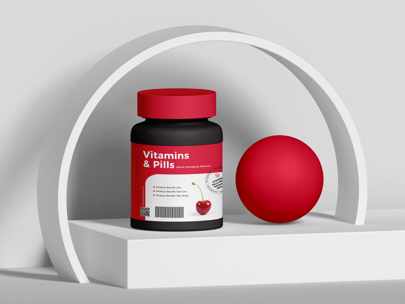 Free Vitamins And Pills Bottle Packaging Mockup PSD Template